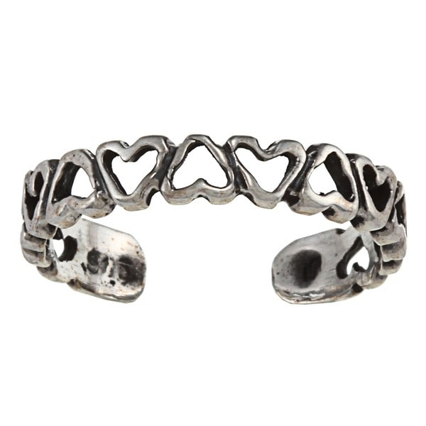 Sterling Silver Open Heart Chain Toe Ring