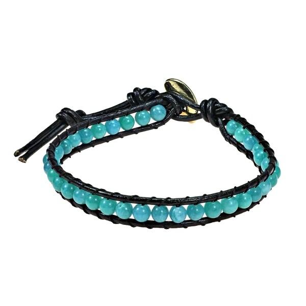 Handmade Round Charm Single Strand Leather Bracelet Thailand