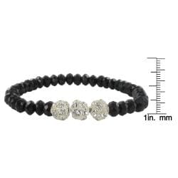 Roman Silvertone Faceted Jet Black and Clear Glass Bead Bracelet - Thumbnail 2