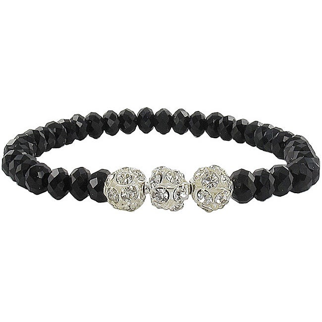 Roman Silvertone Faceted Jet Black and Clear Glass Bead Bracelet