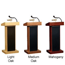 Oklahoma Sound Corporation Orator Floor Lectern with Wireless Handheld Mic