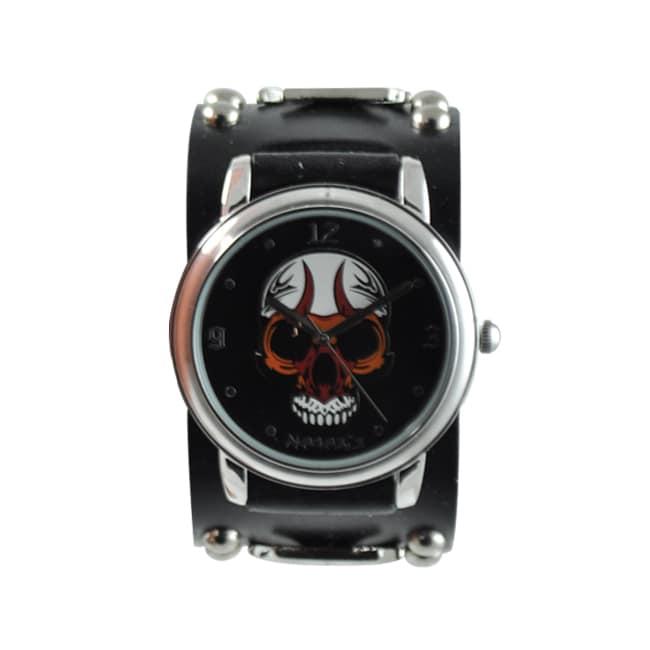 Nemesis Men's Punk Black Eyelet Skull Watch