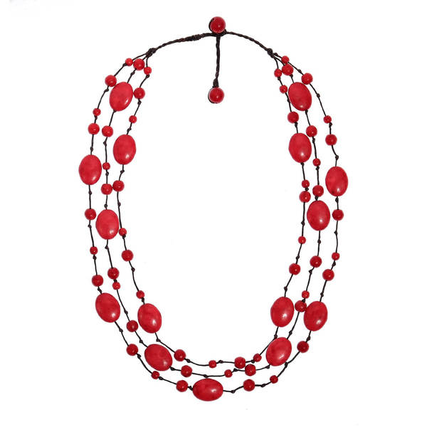 Synthetic Coral Triple Layer Floating Bubble Cotton Rope Red Necklace
