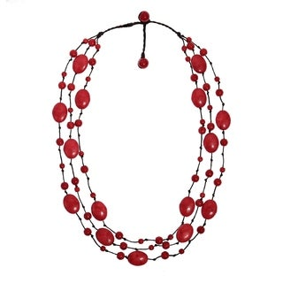 Red Coral Triple Layer Floating Bubble Cotton Rope Necklace (Thailand)