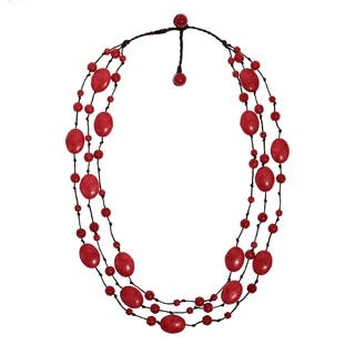 Synthetic Coral Triple Layer Floating Bubble Cotton Rope Red Necklace|https://ak1.ostkcdn.com/images/products/6578957/P14153927.jpg?impolicy=medium