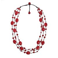 Handmade Synthetic Coral Triple Layer Floating Cotton Rope Red Necklace