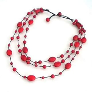 Handmade Red Coral Triple Layer Floating Bubble Cotton Rope Necklace (Thailand)