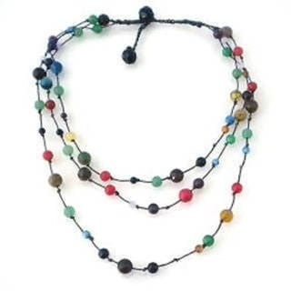 Handmade MultiStone Triple Layer Floating Bubble Cotton Rope Necklace (Thailand)