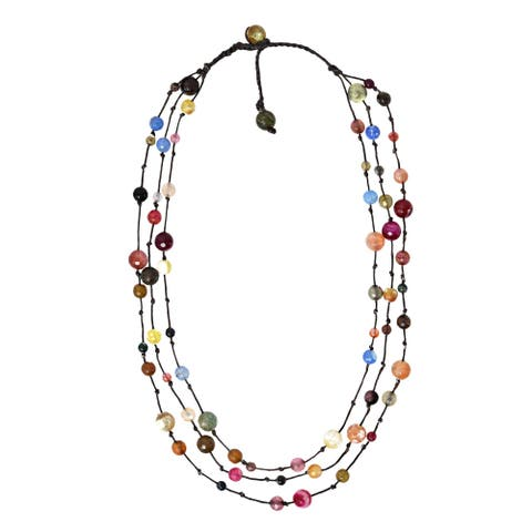 Handmade Amazing Stones on Cotton Rope Statement Necklace (Thailand)