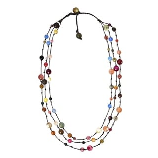MultiStone Triple Layer Floating Bubble Cotton Rope Necklace (Thailand)
