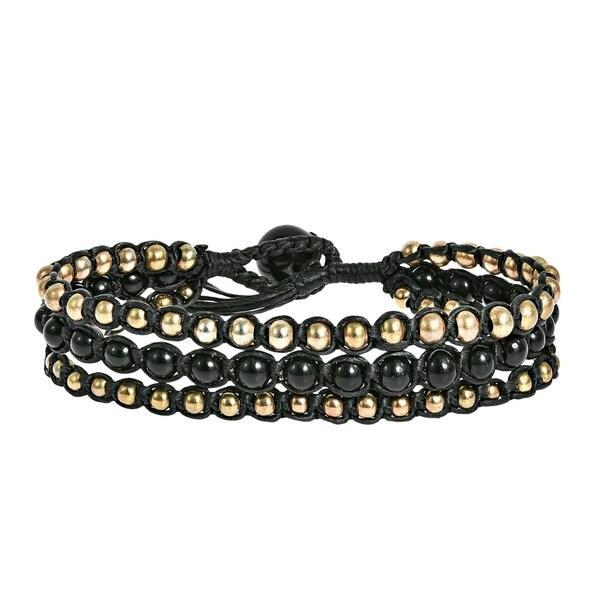Stone Brass Beads Chic Medley Three Strand Bracelet (Thailand)
