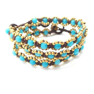 Set of 3 Treasure Mix Stone Brass Beaded Bracelet (Thailand)