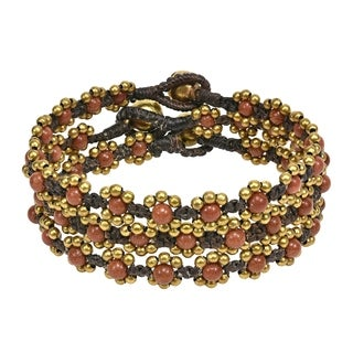 Handmade Set of 3 Treasure Mix Stone Brass Beaded Bracelet (Thailand)