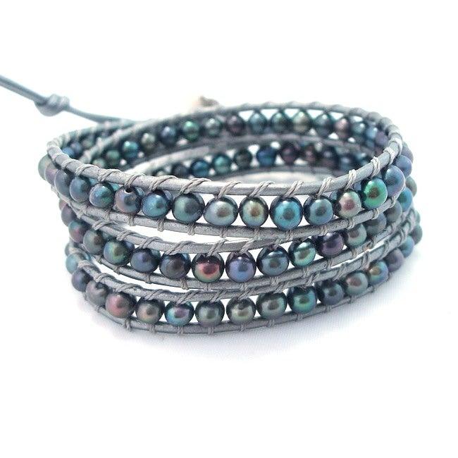 Silver Shadows Freshwater Pearl Wrap Leather Bracelet (Thailand)