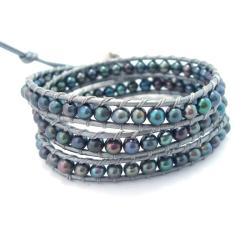 Handmade Silver Shadows Freshwater Pearl Wrap Leather Bracelet (Thailand)