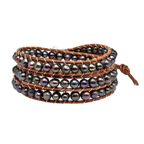 Handmade Earthy Shadows Freshwater Pearl Wrap Brown Leather Bracelet (Thailand)