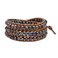 Handmade Earthy Shadows Freshwater Pearl Wrap Brown Leather Bracelet (Thailand)