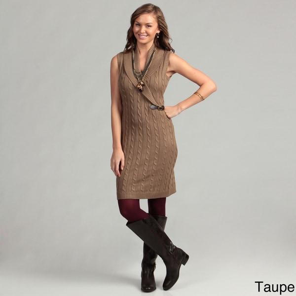 Calvin Klein Women's Knit Leather Tab Dress