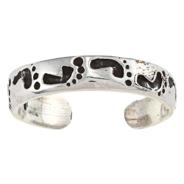Sterling Silver Footprints Toe Ring