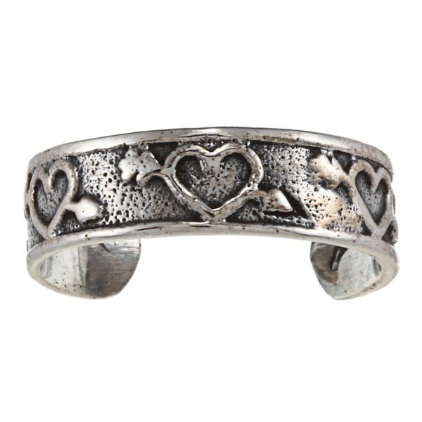 Sterling Silver Heart and Arrow Toe Ring