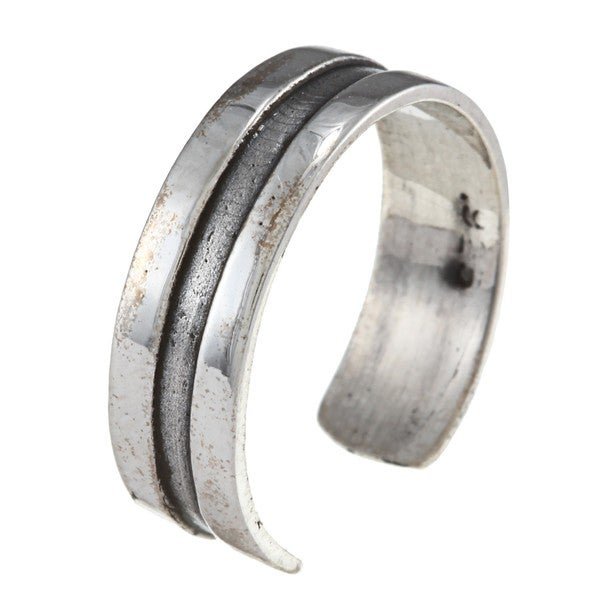 Sterling Silver Classic Plain Grooved Toe Ring