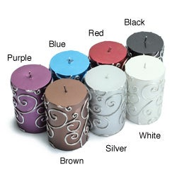 3x4 Inch Scroll Pillar Candles (Pack of 12)