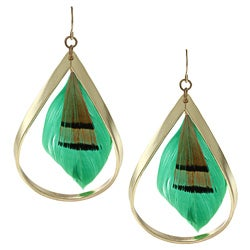 Goldtone Green Feather Fashion Earrings