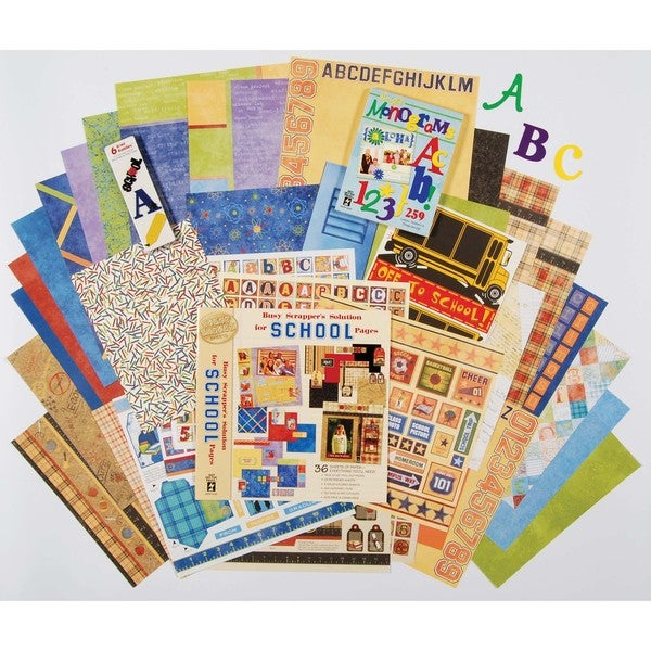 Hot off the Press Paper/Metal-embellishments School Scrapbooking Set