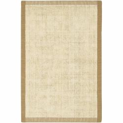 Artist's Loom Hand-woven Contemporary Border Natural Eco-friendly Jute Rug (3'6x5'6)