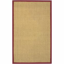 Artist's Loom Hand-woven Contemporary Border Natural Eco-friendly Seagrass Rug (5'x8')