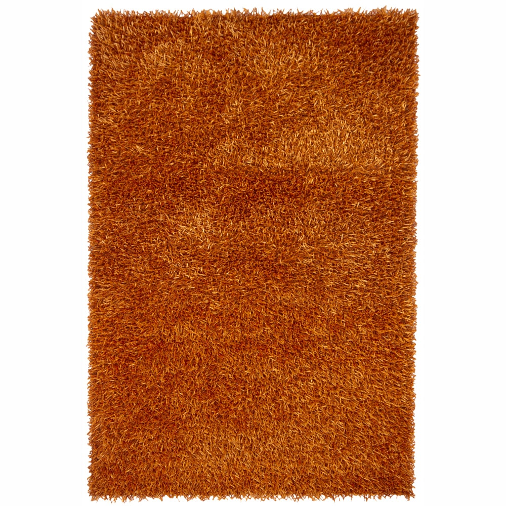 "Contemporary Handwoven Mandara Orange Shag Rug (7'9"" x 10'6"")"