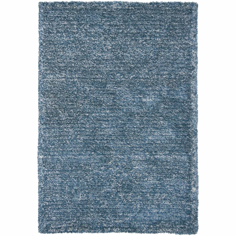 """Hand-woven Mandara Blue/ White Shag Rug - 5' x 7'6"""""""