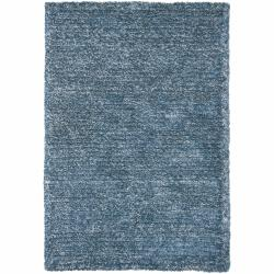 Hand-woven Mandara Blue/ White Shag Rug (5' x 7'6)