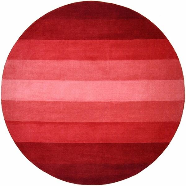Hand-tufted Red Stripe Wool Rug (8' Round) - 8'