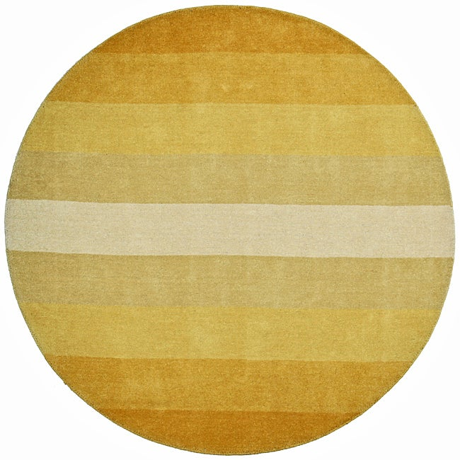 Hand Tufted Yellow Stripe Wool Rug 6 Round Free
