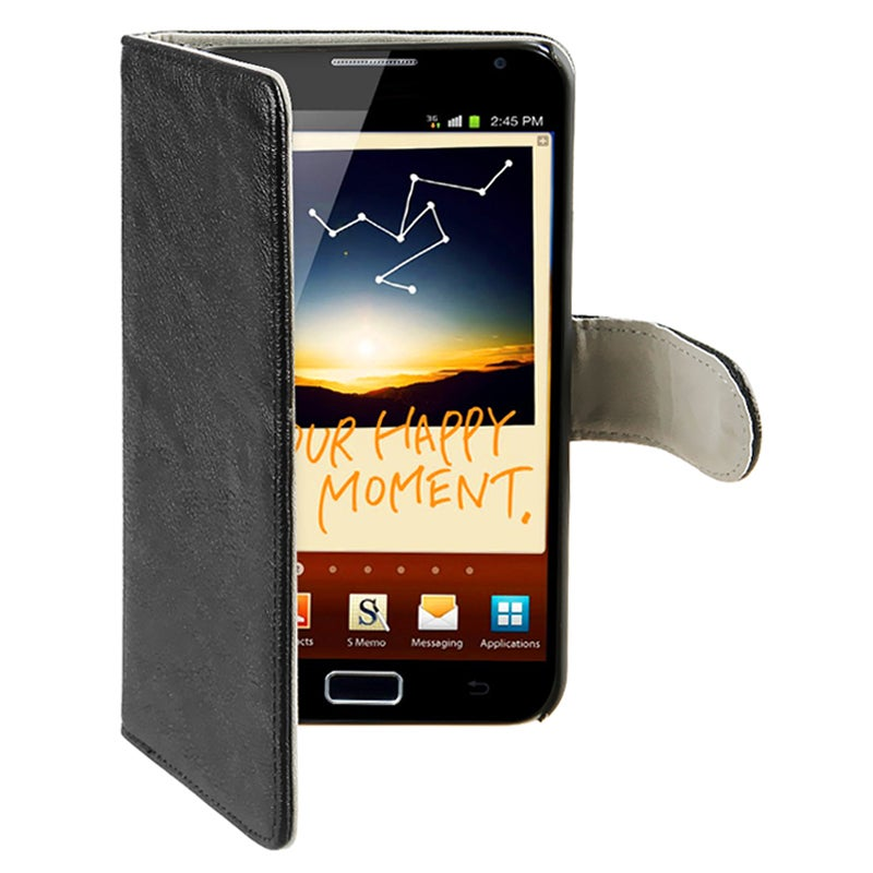 Black Leather Case with Stand for Samsung Galaxy Note N7000