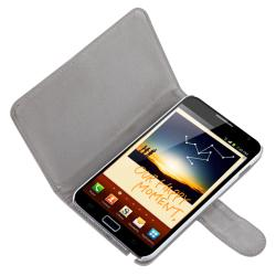 White Leather Case with Stand for Samsung Galaxy Note N7000 - Thumbnail 1