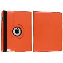 INSTEN Orange 360-degree Swivel Leather Tablet Case Cover for Apple iPad 2 - Thumbnail 1