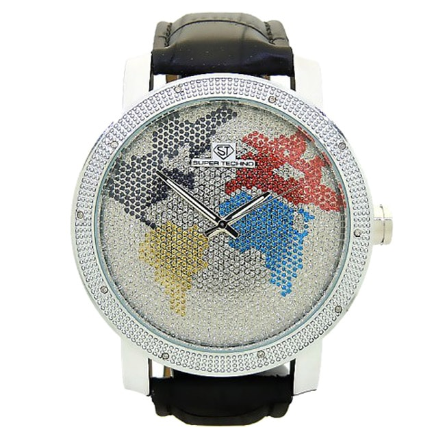 Joe Rodeo Men's Super Techno Leather-Strap Diamond Watch