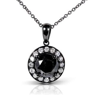 Annello by Kobelli 14k Gold 2 1/8ct TDW Certified Black Diamond Halo Necklace