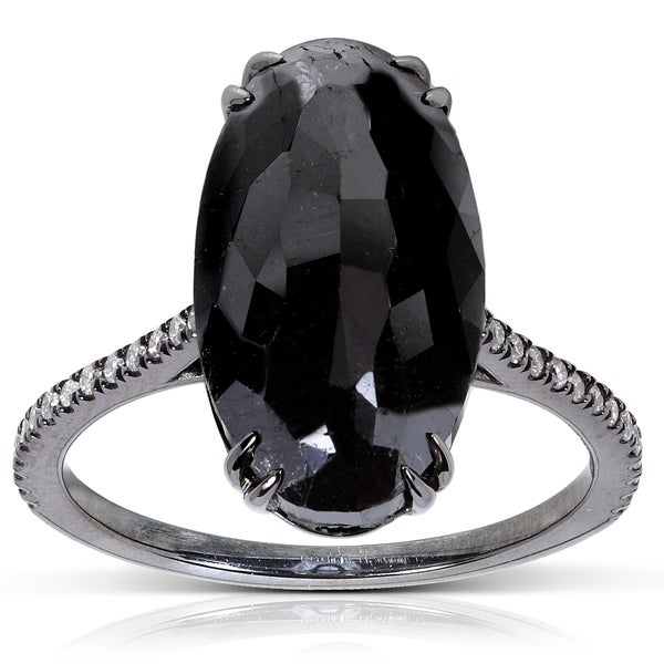 Annello by Kobelli 14k Gold 9 1/4ct TDW Certified Black and White Diamond Ring (H-I, I2)