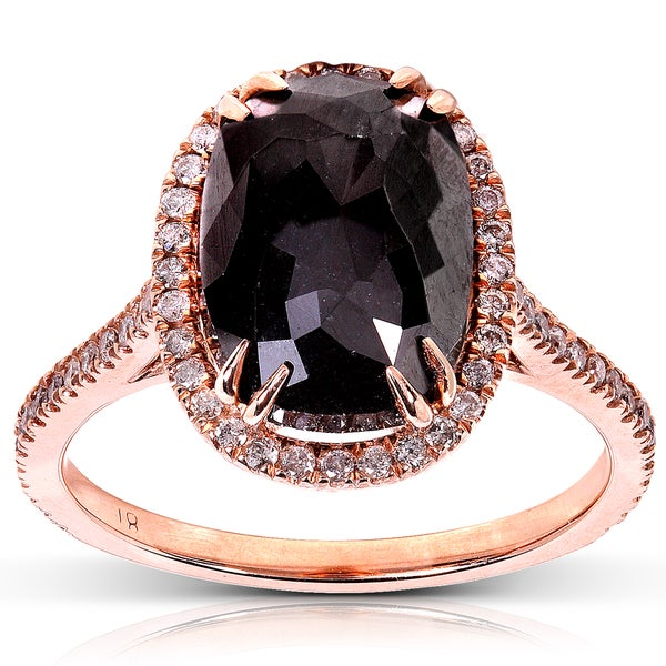 Annello by Kobelli 14k Rose Gold 6ct TDW Certified Black and White Diamond Ring (J-K, I2)