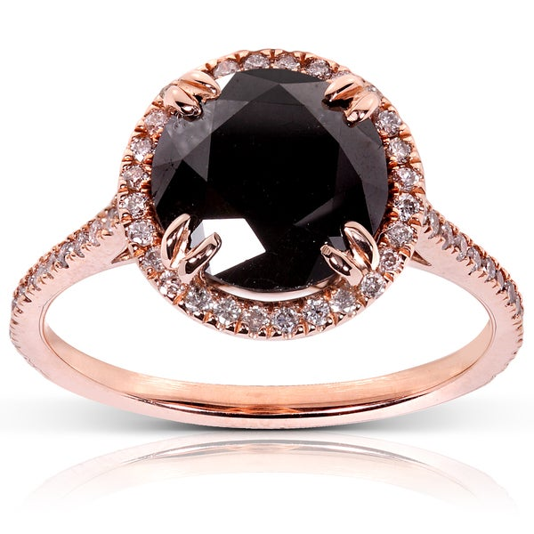 Annello by Kobelli 14k Rose Gold 3 5/8ct TDW Certified Black Diamond Ring (H-I, I1-I2)