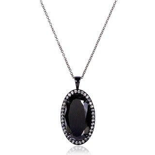 Annello by Kobelli 14k Black Gold 12ct TDW Certified Oval Diamond Necklace with Black Ceramic Coating