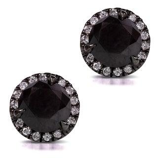 Annello by Kobelli 14k Gold 3 3/4ct TDW Certified Black and White Diamond Earrings (H-I,