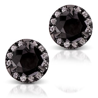 Annello by Kobelli 14k Gold 3 1/8ct TDW Certified Black and White Diamond Earrings (H-I,