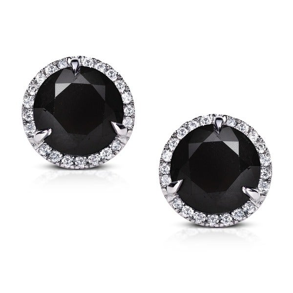 Annello by Kobelli 14k Gold 6 2/5ct TDW Certified Black and White Diamond Earrings (I-J,