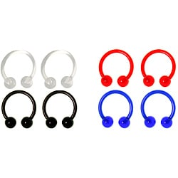 Carolina Glamour Collection Bio-Flex UV Ball End Circular Horseshoe Barbells (Set of 4)