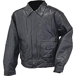 Mossi Men's 'Bomber' Leather Jacket - Thumbnail 0
