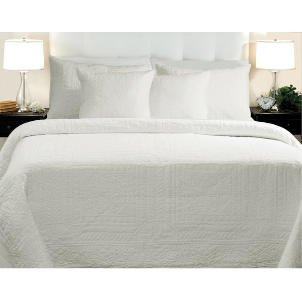 Greenland Home Fashions Adele Cotton White 3-piece Quilt Set